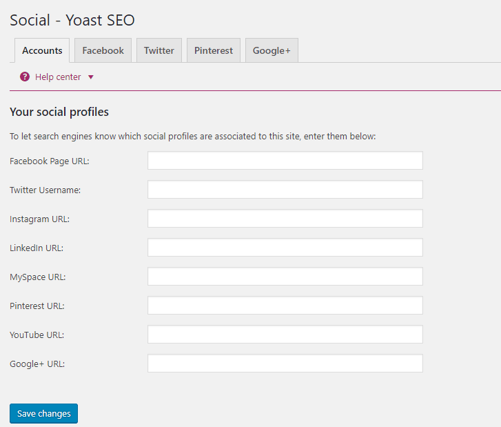 Social Profile Setup on Yoast SEO