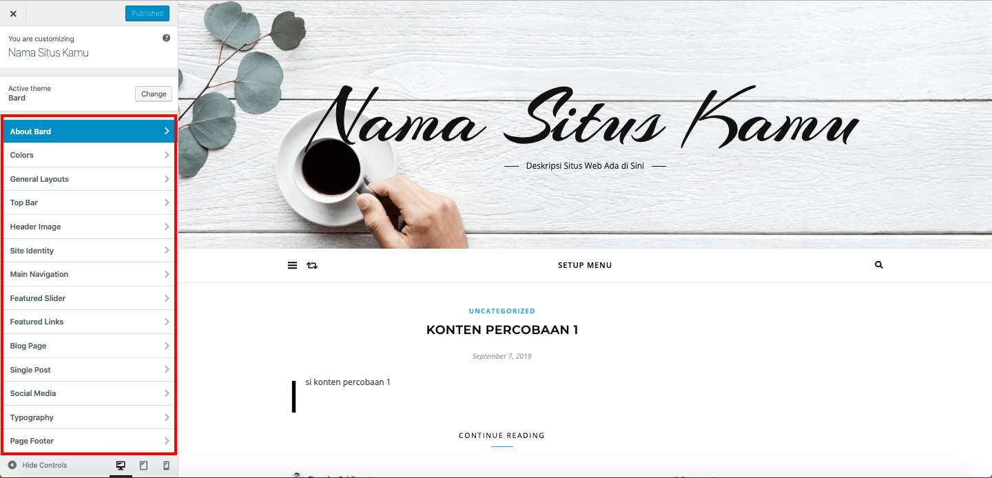 Cara membuat website - Appearance Customize