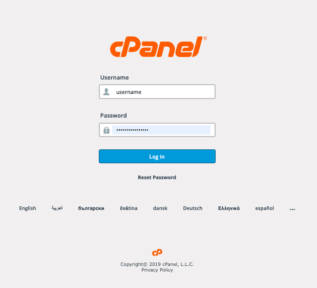 backup data login cpanel
