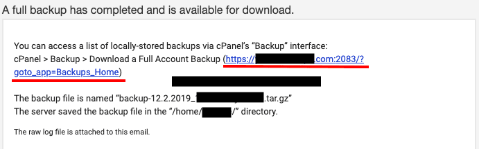 backup data click link