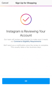 instagram shopping waiting for approval