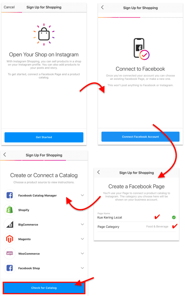 instagram shopping sign up processes