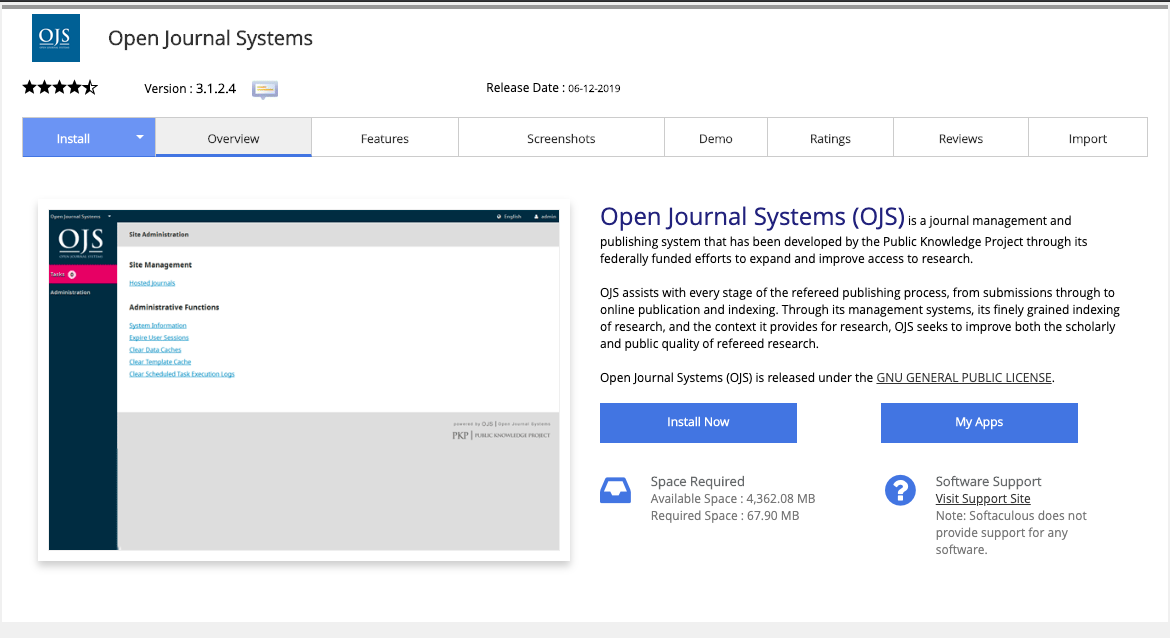 instalasi open journal system softaculous