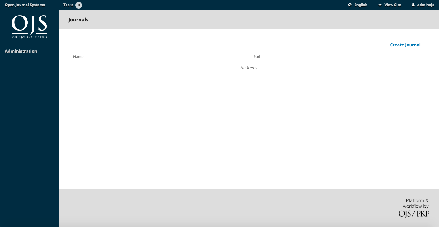 instalasi open journal system dashboard
