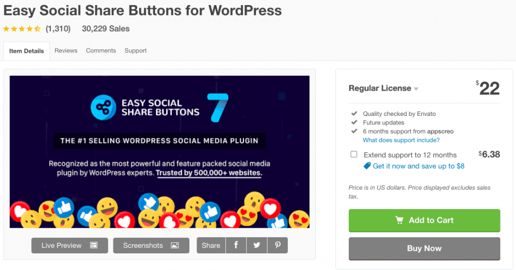 Easy WordPress Social Share Buttons