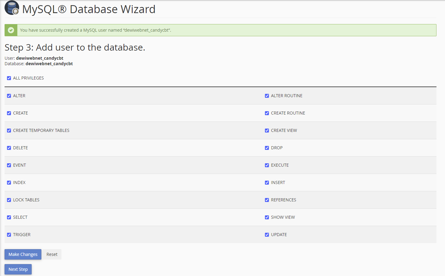 tick all privileges to database for user