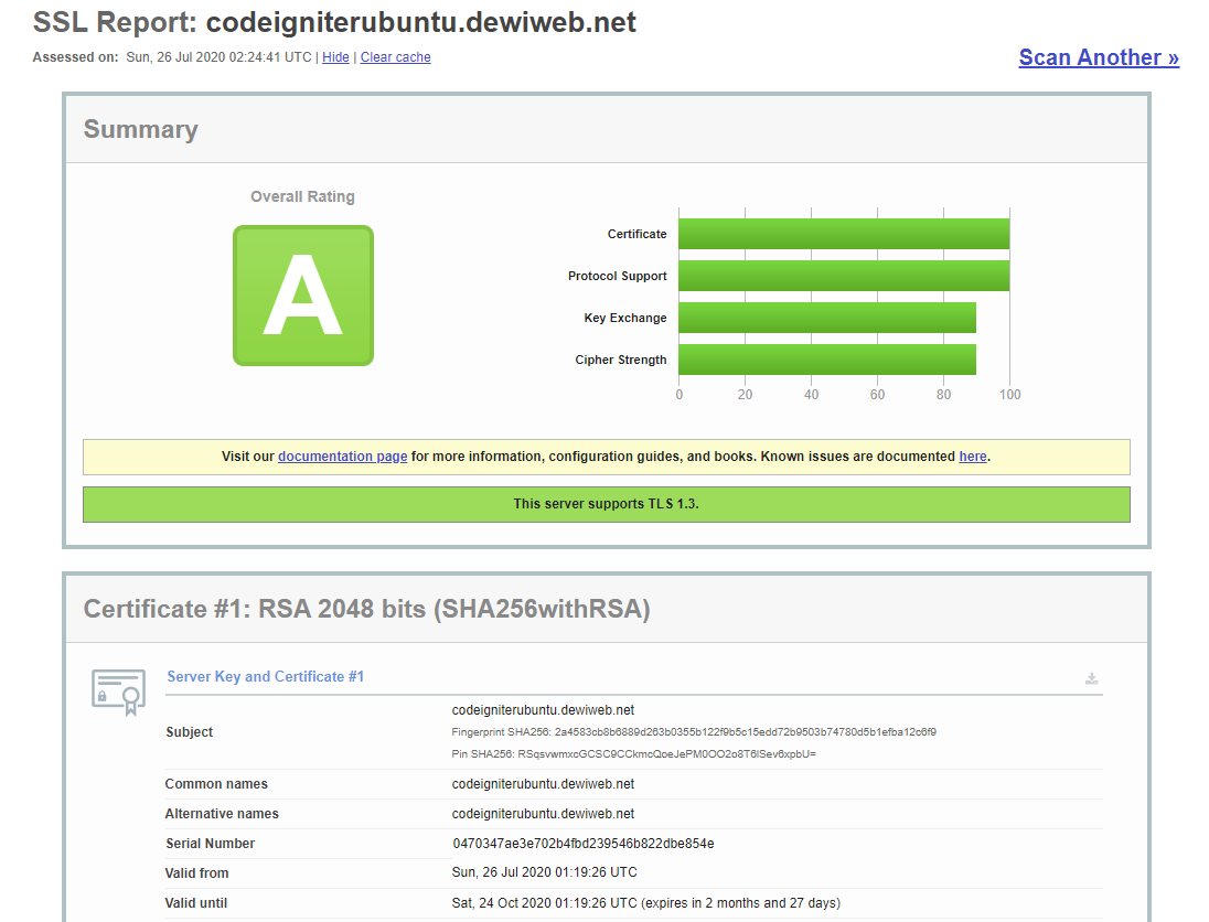 cara deploy codeigniter ssl report