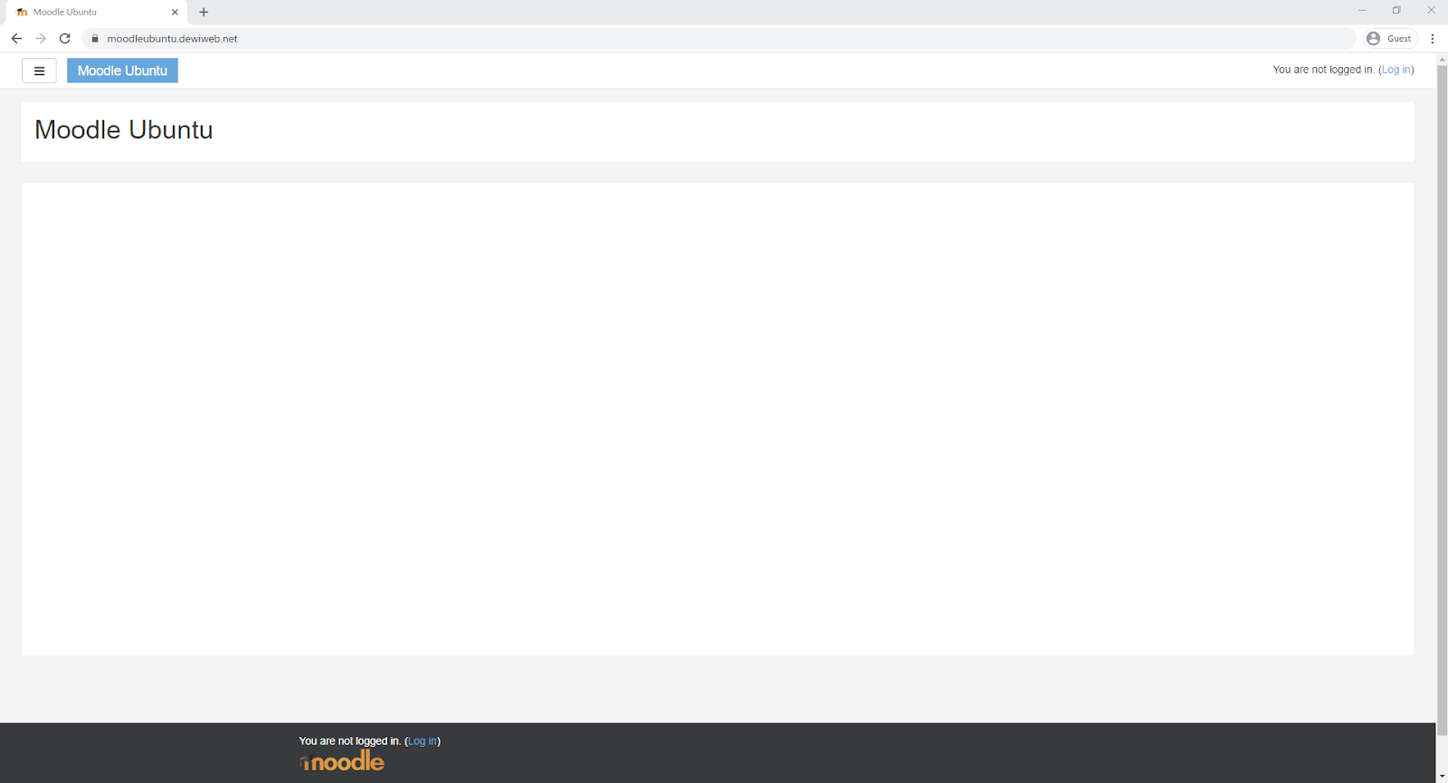 cara install Moodle homepage test success