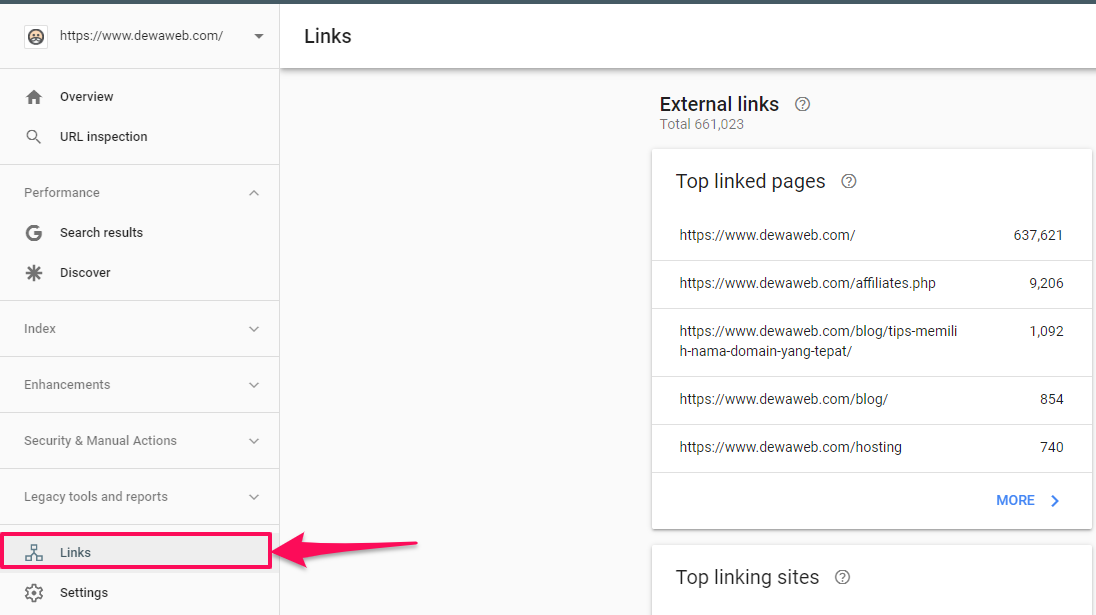 monitor backlink search console