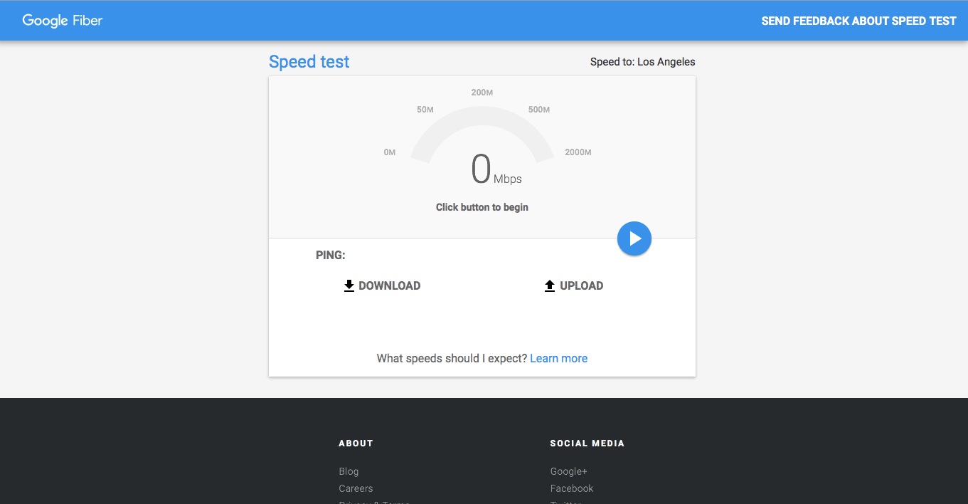 Google Fiber Speedtest